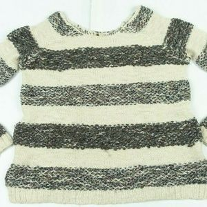 Gray Cream Striped Fuzzy Long Sleeve Knit Sweater
